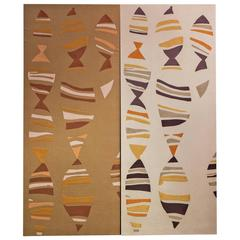 Two Judy Ross limited edition hand embroidered decorative wall panels