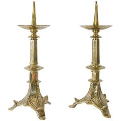 Pair of Brass Picket Candlesticks