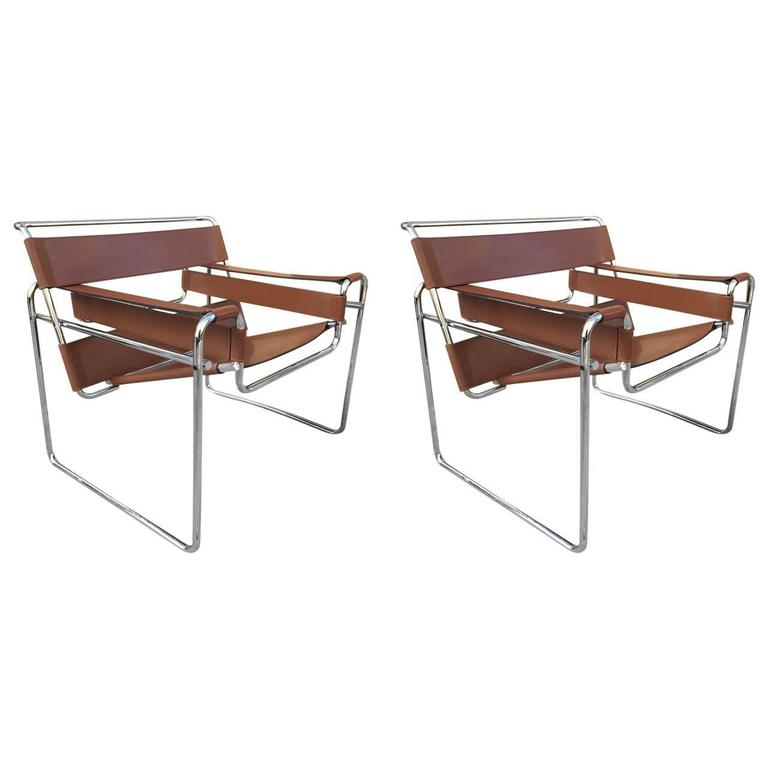 Pair of marcel breuer wassily chairs for knoll at 1stdibs