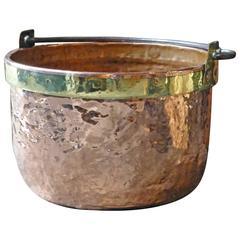 18th Century Polished Copper and Brass Log Holder, Wood Basket