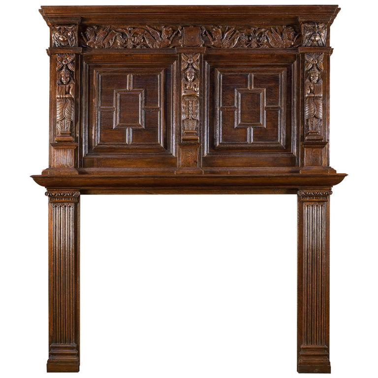 tall antique english carved oak antique fireplace mantel