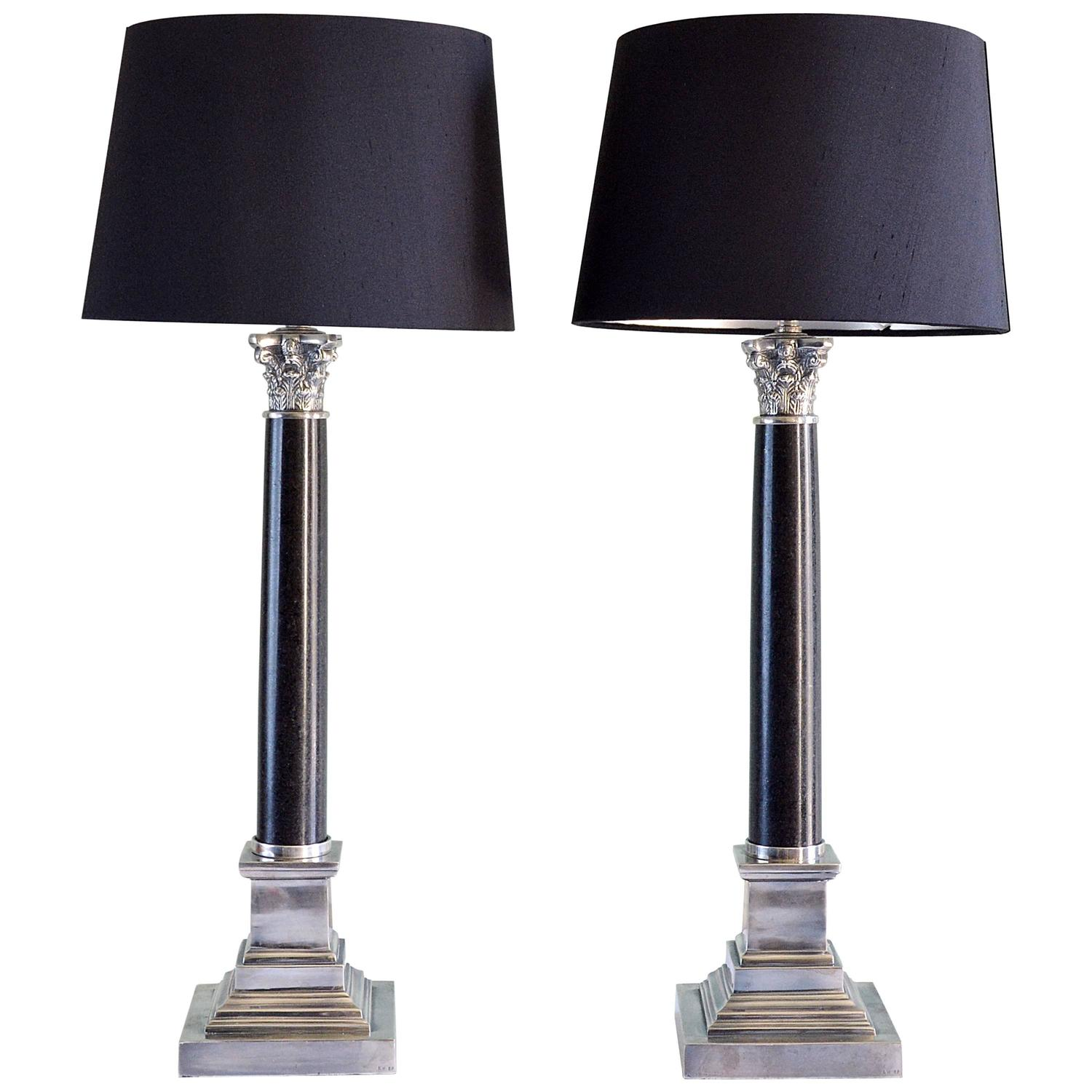 pair of corinthian column table lamps at 1stdibs. Black Bedroom Furniture Sets. Home Design Ideas
