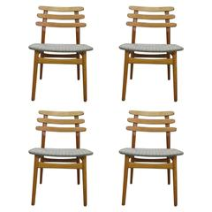 Poul Volther Ladder Back Dining Chairs in Beech, Model J48