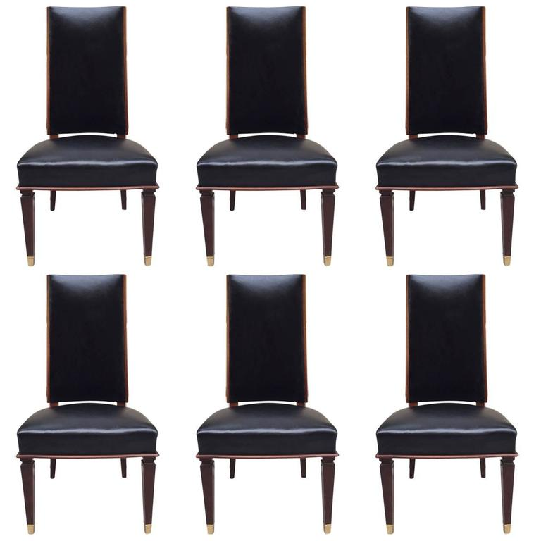 Six Leather Dining Chairs Style Andre Arbus For Sale