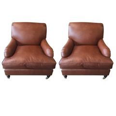 Pair of Flavor Custom Originals Modern Leather Lounge Chairs