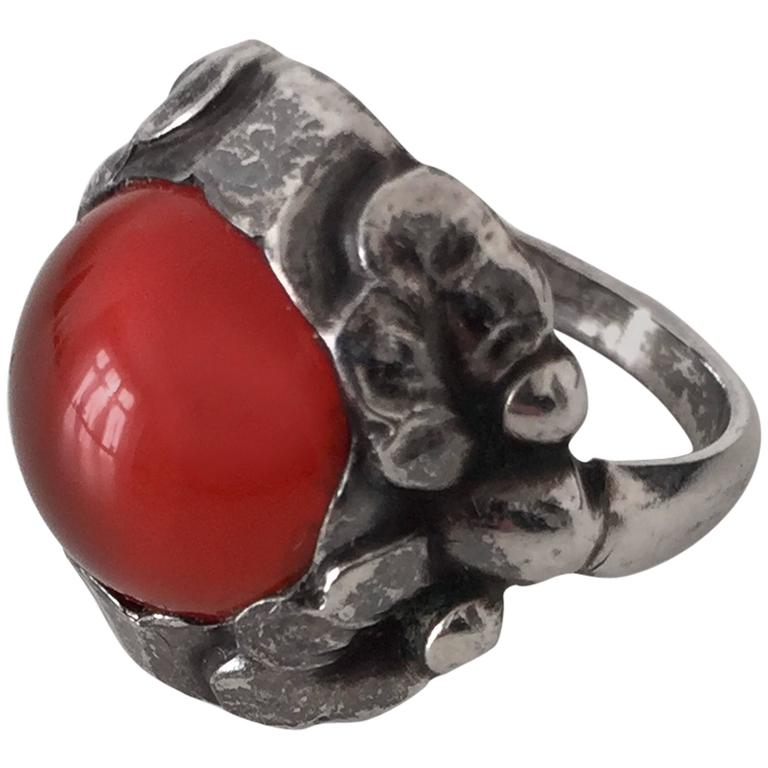 Silver Red Granite : Georg jensen sterling silver ring with red stone for sale