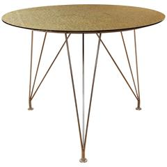 Round Green Table with Metal Base