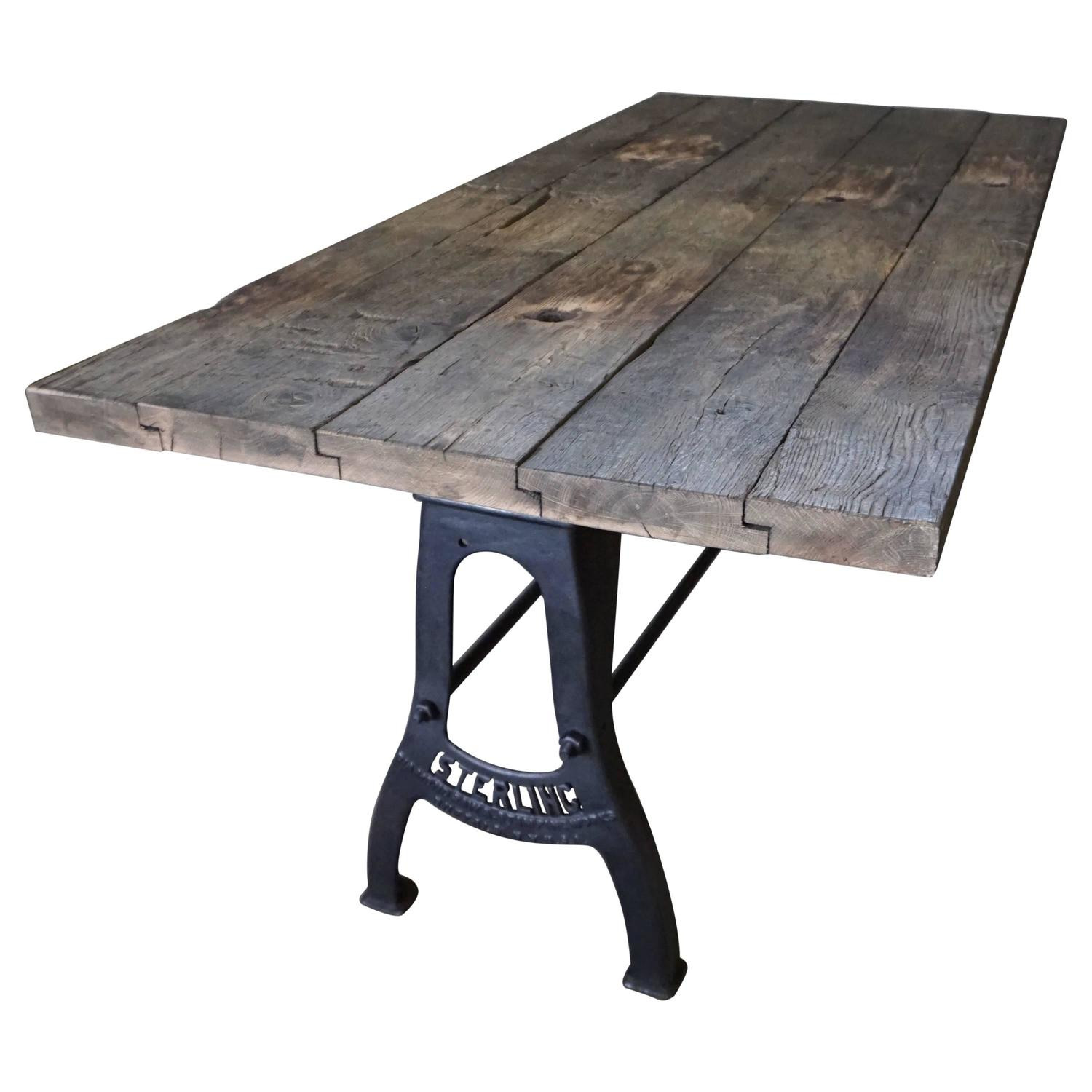 Industrial Brushed Metal Dining Table Early 20th Century