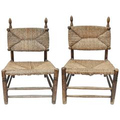 Early 20th Century Pair of French Rush Slipper Chairs