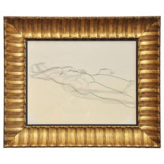 20th Century Nude, Line Drawing in Gilded Frame