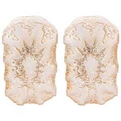 Pair of Austrian 1960s 'Eruption' Sconces in Textured Glass with Frosted Detail