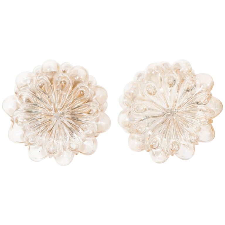 Beautiful Pair of German 1960s Bubble Glass Flower Sconces For Sale at 1stdibs