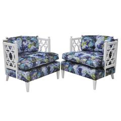 "Pair of ""Palm Springs"" Style Lacquered Mid-Century Club Chairs"