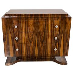 Art Deco Book-Matched Rosewood Chest With Skyscraper Style Chrome Pulls