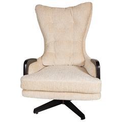 Mid-Century Sculptural High Wingback Tilt and Swivel Chair in Gauffraged Velvet