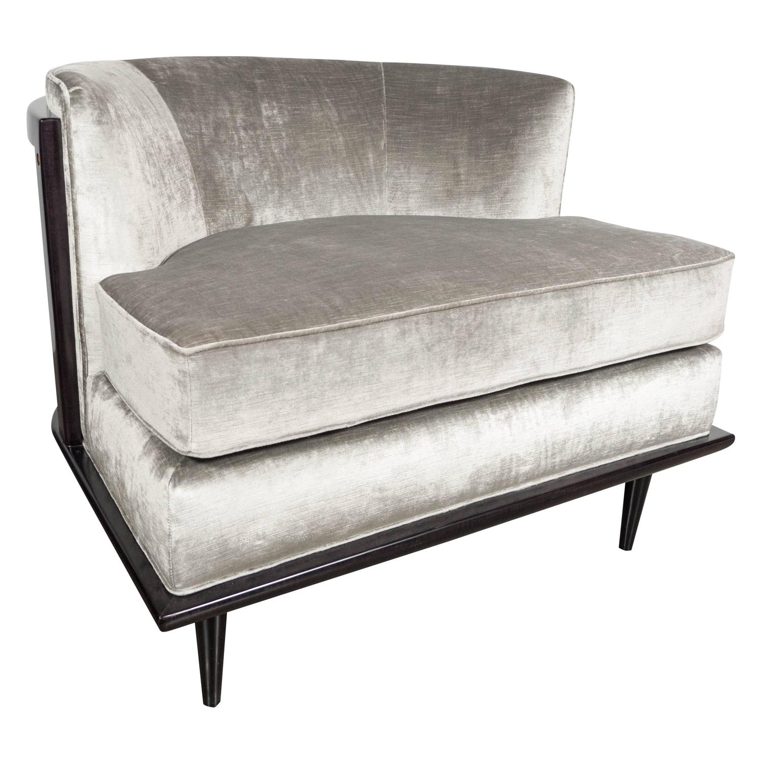 Ultra Chic Mid Century Curved Back Slipper Chair In Smoked Platinum Velvet  At 1stdibs