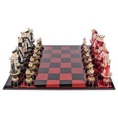 Mid-Century Modernist Handblown Murano Glass Chess Set