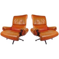 Pair Rosewood and Leather Swivel Lounge Chairs