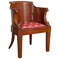 Empire Solid Mahogany Desk Chair, Early 19th Century
