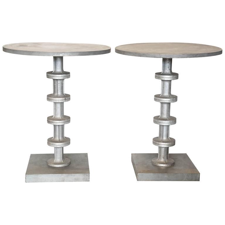 Pair of Cast Aluminium Side Tables