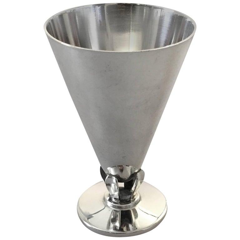 Danish C.C. Hermann Sterling Silver Liquor Glass For Sale