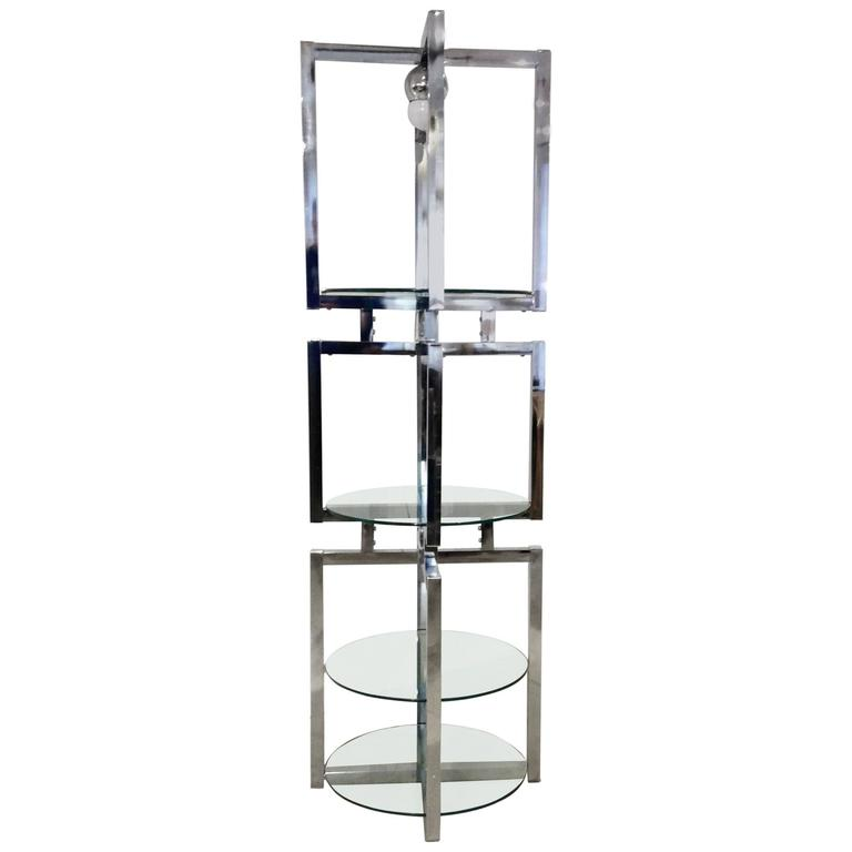 Geometric Chrome Tower Etagere by Milo Baughman