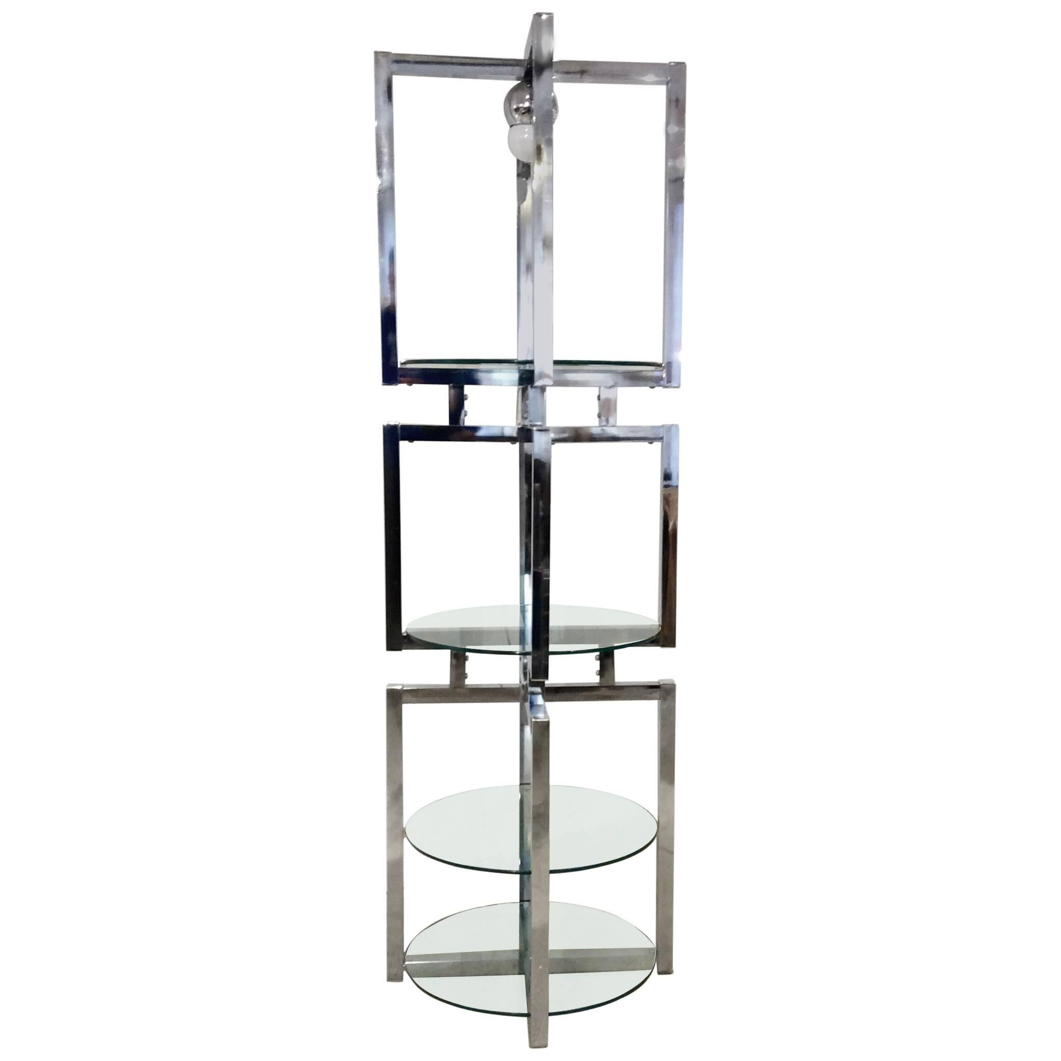 Geometric Chrome Tower Etagere in the style of Milo Baughman