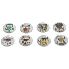 Piero Fornasetti eight porcelain coasters, Italy circa 1950