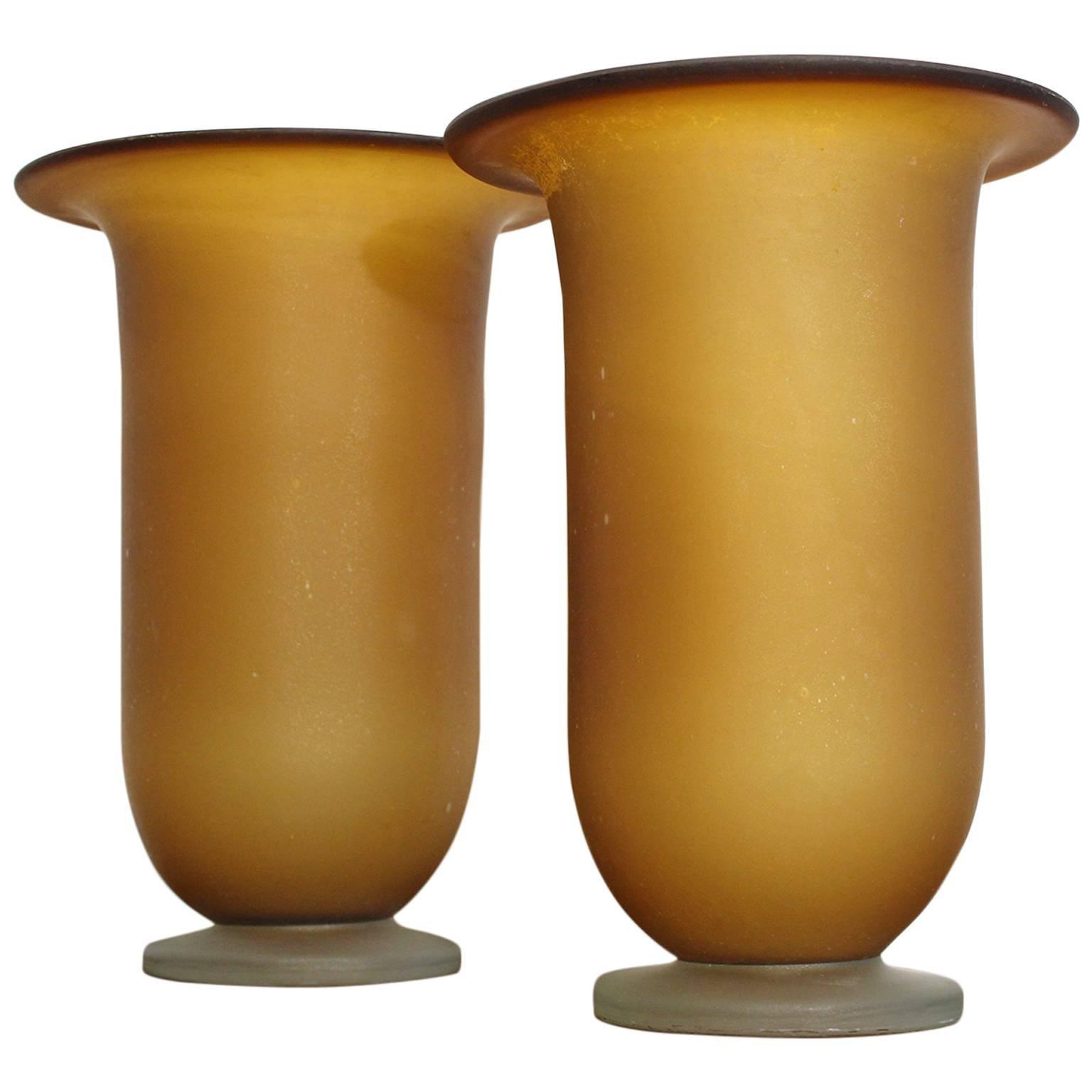Large Murano Glass Vase Pair