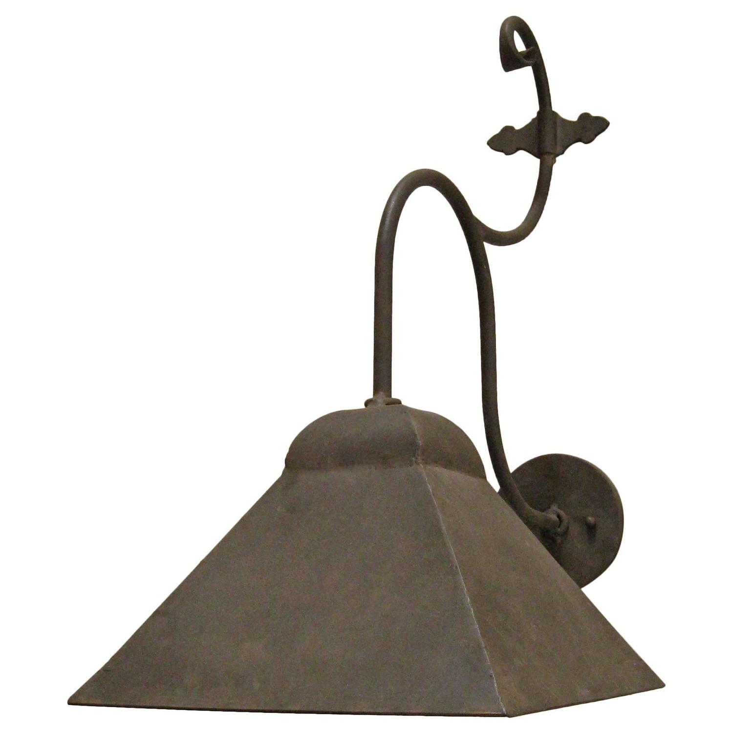 Iron Outdoor Wall Sconces : Iron Exterior Hooded Wall Sconce For Sale at 1stdibs