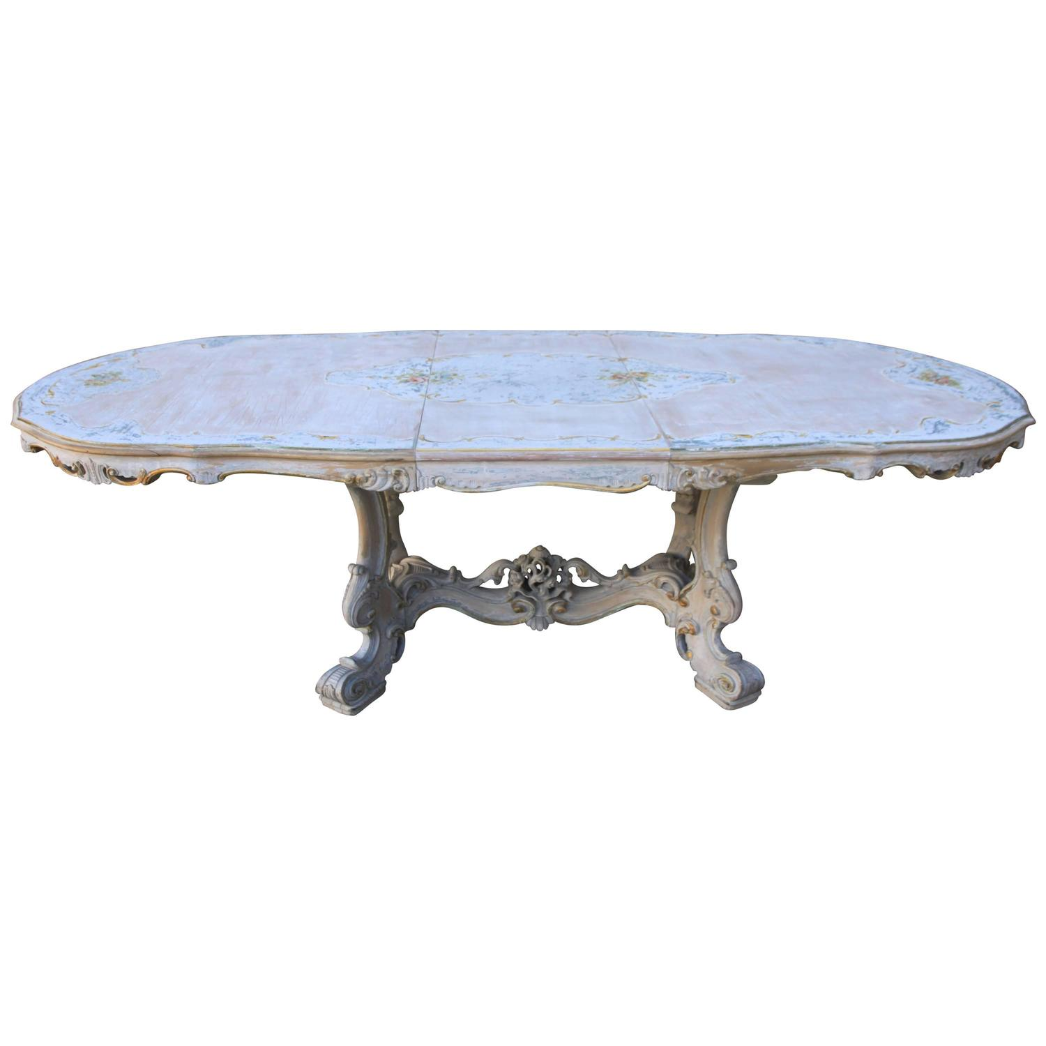 french painted rococo style dining table w center leaf at