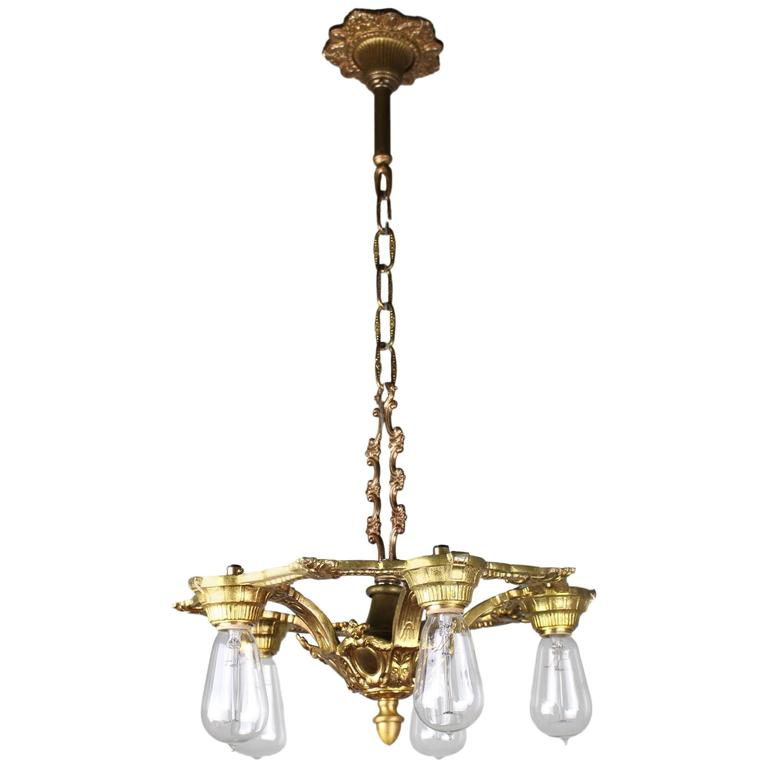 Chandelier Lighting Vancouver Bc: 1920s Cast Brass Fixture In The Neoclassical Style At 1stdibs