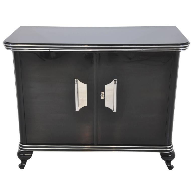 Black Art Deco Commode with Big Chrome Handles