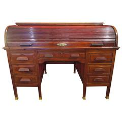 American Partner's Cylinder Desk in solid wood and veneers mahogany
