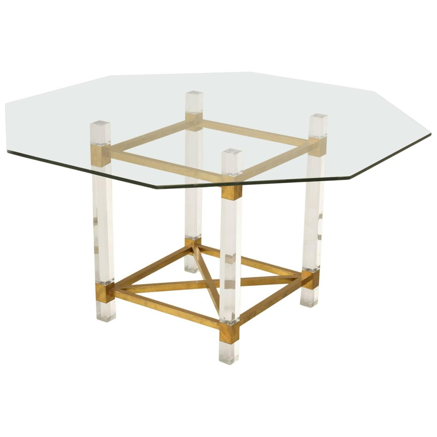 French acrylic and brass dining table for sale at 1stdibs
