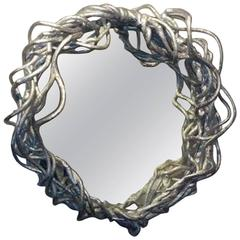 Abstract Sculpted Pewter Mirror.