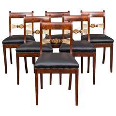 Dining Chairs Set of 6 English Mahogany Leather Black 19th Century England
