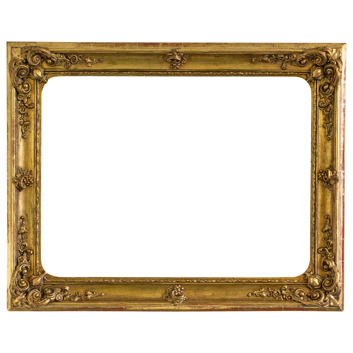 gorgeous large gilded baroque picture frame from circa 1840 for sale at 1stdibs. Black Bedroom Furniture Sets. Home Design Ideas