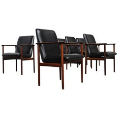 Set of Six Rosewood Conference Chairs by Arne Vodder for Sibast Denmark 1960s