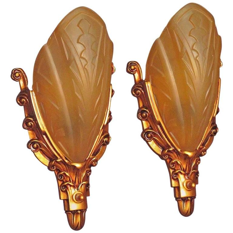 Art Deco Slip Shade Wall Sconces 1920s 1930s For Sale At 1stdibs