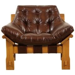 Solid Oak Lounge Chair CA 1970's