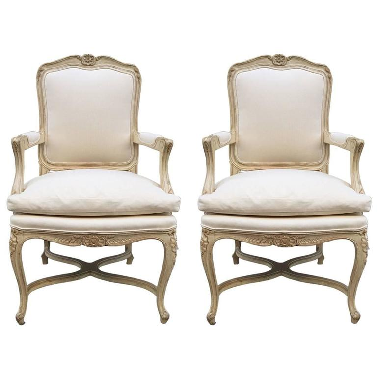 Pair of Louis XIV Style Armchairs For Sale