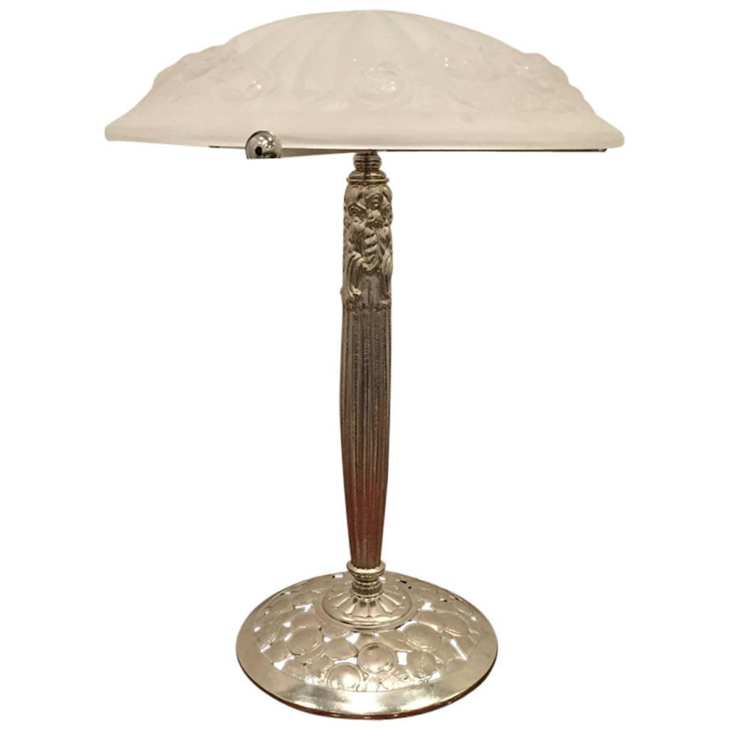 This american art nouveau table lamp is no longer available - Signed Degue French Art Deco Nickel Plated Table Lamp With Glass Shade