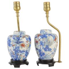 Pair of Imari Jars with Covers Made into Lamps