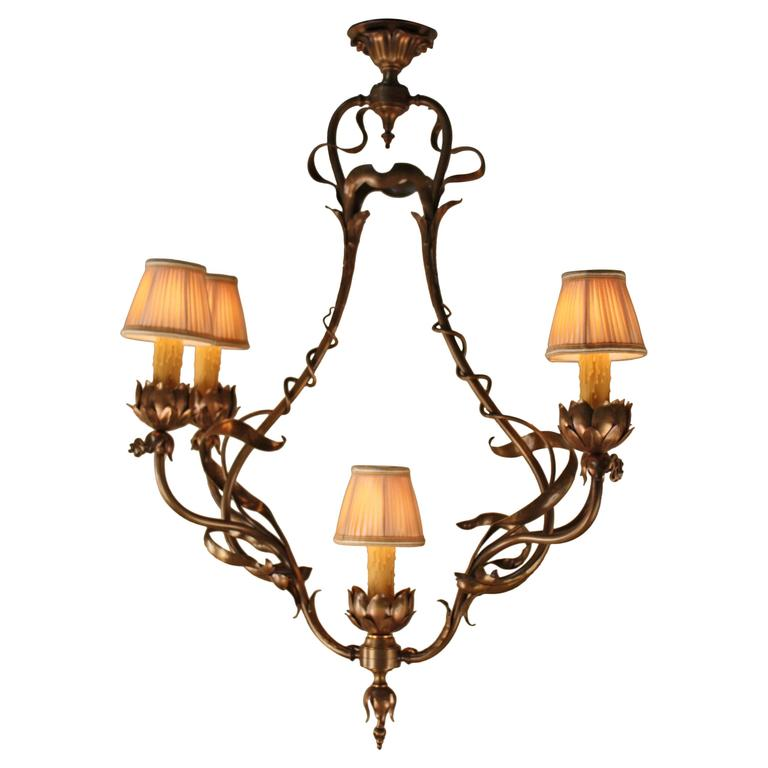 French 19th Century Bronze Art Nouveau Chandelier For