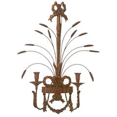 Decorative Giltwood and Metal Wheat Motif Candle Sconce