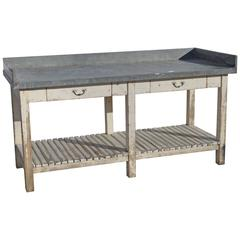 Old French Zinc Topped Florists Table