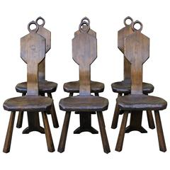 Set Of Six American Primitive Side Chairs By John Barbor