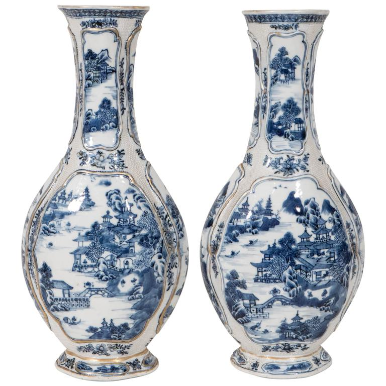 Pair Of Antique Chinese Blue And White Porcelain Mantle Vases At 1stdibs