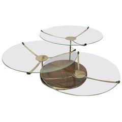 Three-Tier Walnut and Brass Swivel Serving Plates